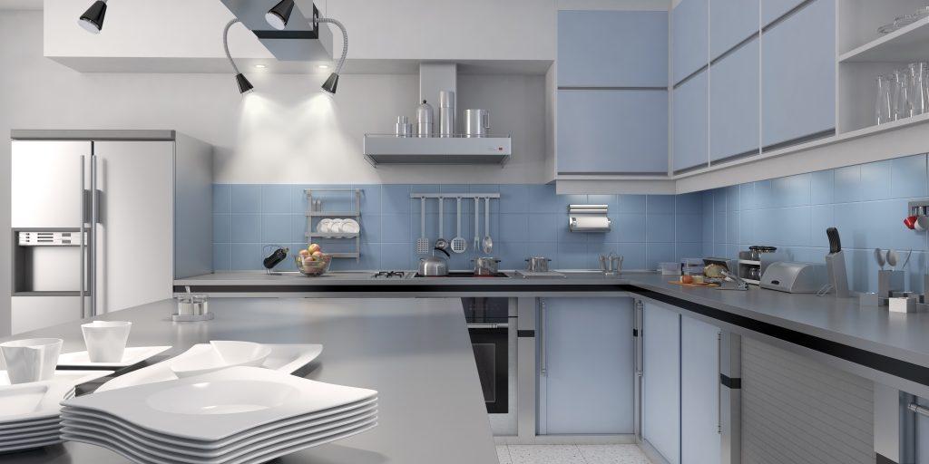 Cucine semi professionali domestiche in acciaio inox for Piani camino ad angolo