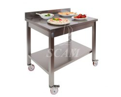 Tavolo aperto su ruote piano alzatina